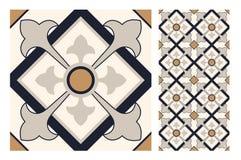 El diseño inconsútil antiguo del vintage modela las tejas en el ejemplo del vector Foto de archivo libre de regalías