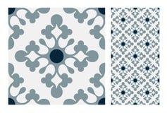 El diseño inconsútil antiguo del vintage modela las tejas en el ejemplo del vector Fotografía de archivo