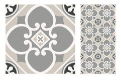 El diseño inconsútil portugués antiguo del vintage modela las tejas en el ejemplo del vector fotos de archivo