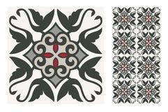 El diseño inconsútil portugués antiguo del vintage modela las tejas en el ejemplo del vector foto de archivo