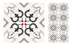 El diseño inconsútil portugués antiguo del vintage modela las tejas en el ejemplo del vector imágenes de archivo libres de regalías