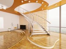 El diseño interior 3d de la sala de estar rinde Fotografía de archivo