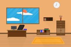 El diseño interior de la oficina se relaja con el ordenador en el estante para libros y la ventana de la silla de tabla Ilustraci ilustración del vector