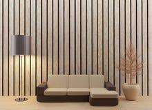 El diseño interior de la sala de estar en 3D rinde imagen Imágenes de archivo libres de regalías