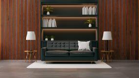 El diseño interior de la sala de estar moderna del desván, el sofá negro con el estante para libros negro y la pared de madera vi stock de ilustración