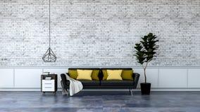 El diseño interior del desván moderno, los muebles negros en el suelo de mármol y la pared de ladrillo blanca /3d rinden stock de ilustración
