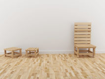 El diseño interior del sitio y la silla de madera en 3D rinden Fotos de archivo