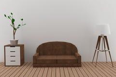 El diseño interior del sofá con la lámpara y el árbol en el cuarto en 3D rinden imagen ilustración del vector
