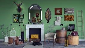 El diseño interior retro clásico de la sala de estar 3d rinde ilustración del vector