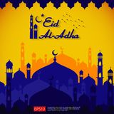 El diseño islámico de la tarjeta de felicitación de Eid al Adha Mubarak con el elemento de la mezquita de la bóveda en papel cort Stock de ilustración
