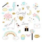 El diseño mágico fijó con unicornio, el arco iris, los corazones, las nubes y otras los elementos libre illustration