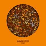 El diseño marrón anaranjado del círculo con las ramitas modela el fondo Lugar del texto Fotografía de archivo