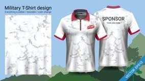 El diseño militar de la camiseta del polo, con la impresión del camuflaje viste para la selva, caminando el senderismo o al cazad stock de ilustración