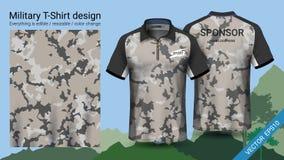 El diseño militar de la camiseta del polo, con la impresión del camuflaje viste para la selva, caminando el senderismo o al cazad ilustración del vector