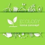 El diseño plano de ecología, ambiente, verde limpia Fotos de archivo libres de regalías