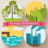 El diseño plano de ecología, ambiente, verde limpia Imagenes de archivo