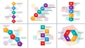 El diseño plano de Infographic de los elementos de la plantilla colorida abstracta de la presentación fijó para el márketing del  stock de ilustración