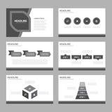 El diseño plano de Infographic de los elementos del icono de la plantilla blanco y negro de la presentación fijó para el aviador  libre illustration