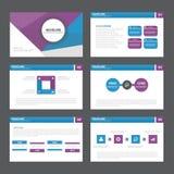 El diseño plano de la presentación de la plantilla de los elementos abstractos púrpuras azules de Infographic fijó para el márket