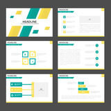 El diseño plano de la presentación de las plantillas de los elementos amarillos verdes abstractos de Infographic fijó para el már Imagen de archivo