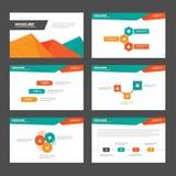 El diseño plano de la presentación de las plantillas de los elementos anaranjados verdes abstractos de Infographic fijó para el m Imagen de archivo