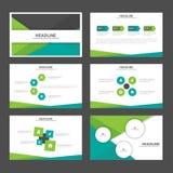 El diseño plano de la presentación de las plantillas de los elementos negros verdes abstractos de Infographic fijó para el márket Fotos de archivo libres de regalías
