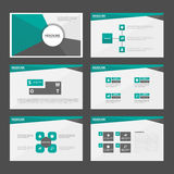 El diseño plano de la presentación de las plantillas de los elementos negros verdes abstractos de Infographic fijó para el márket Imagen de archivo