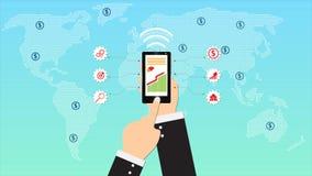 El diseño plano de la red social animó el fondo para el negocio