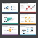 El diseño plano de los elementos de Infographic de la plantilla de la presentación de SEO fijó para el márketing del prospecto de Imagen de archivo