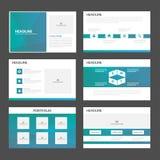 El diseño plano de los elementos de Infographic de las plantillas de la presentación del polígono del verde azul fijó para el már Foto de archivo