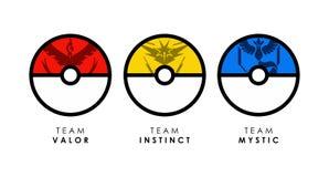 El diseño plano del estilo de equipos del pokemon va