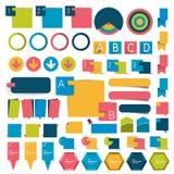 El diseño plano del infographics grande del sistema abotona, los elementos, cartas, botones Imágenes de archivo libres de regalías