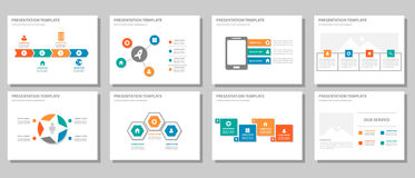 El diseño plano infographic multiusos anaranjado azulverde rojo de la presentación y del elemento fijó 2 Imagenes de archivo