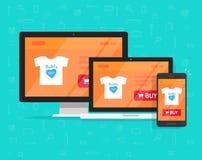 El diseño responsivo de la tienda de Internet, página del sitio web de la tienda en línea mostró en el PC de sobremesa, el ordena Imagenes de archivo