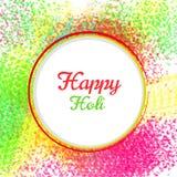 El diseño y el ejemplo felices del cartel del holi con color salpican imágenes de archivo libres de regalías