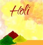 El diseño y el ejemplo felices del cartel del holi con color salpican fotografía de archivo