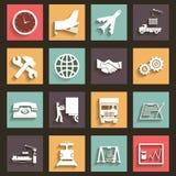 El diseño plano de los símbolos de los iconos del envío y del transporte diseña vector Imagen de archivo