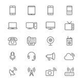 El dispositivo de comunicación enrarece iconos ilustración del vector