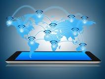 El dispositivo de la tableta con el mapa de WiFi surge Fotografía de archivo