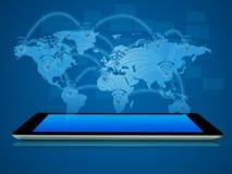 El dispositivo de la tableta con el mapa surge Foto de archivo