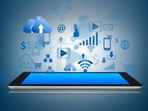 El dispositivo de la tableta con el uso surge Imagen de archivo
