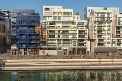 El distrito de la confluencia en Lyon, Francia Imágenes de archivo libres de regalías