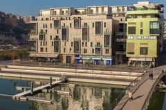 El distrito de la confluencia en Lyon, Francia Imagen de archivo