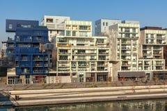 El distrito de la confluencia en Lyon, Francia Imagenes de archivo