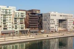El distrito de la confluencia en Lyon, Francia Fotos de archivo libres de regalías