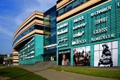 El distrito de Zverynas de la ciudad de Vilna y la tienda del panorama se centran Imagen de archivo