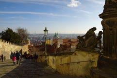El distrito del castillo en Praga Foto de archivo