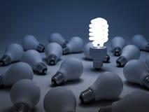 El diverso concepto, bombilla del ahorro de la energía de Eco Fotografía de archivo