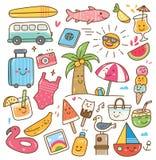 El diverso verano relacionó el objeto en el ejemplo del estilo del kawaii stock de ilustración