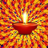 El diwali feliz hermoso punteó el diya hindú f de la presentación colorida